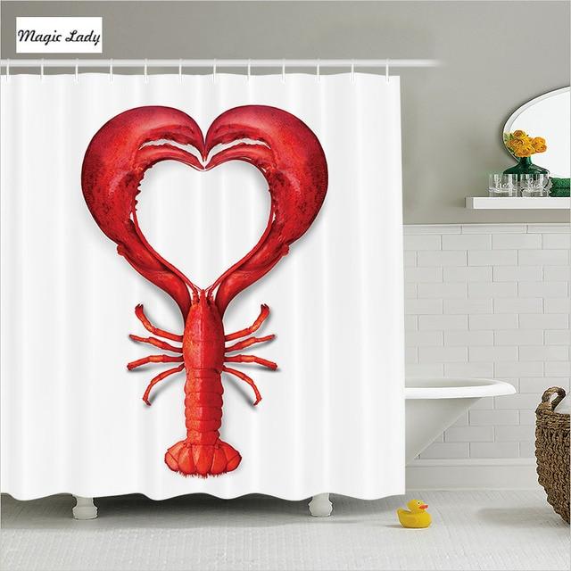 Shower Curtain Heart Bathroom Accessories Lobster Fish Dinner Seafood Love Restaurant Animal Art Red 180