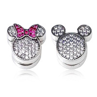 Lovely Good Quality CZ Paving 925 Sterling Silver Mickey And Minnie Clip Charm Fitting European Charm