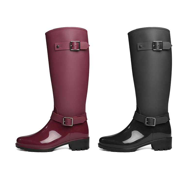 f8e9ff8fa YJP Women Mid Calf Rain Boots, Black/Fuchsia Buckle Anti slip Waterproof  Rubber Boots, Ladies 3.5cm Heels Fashion Slip On Shoes-in Mid-Calf Boots  from Shoes ...