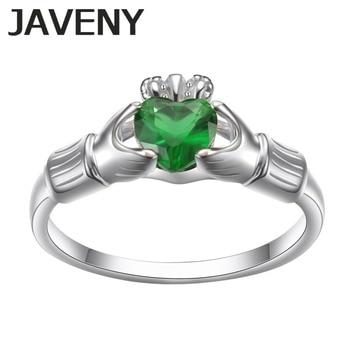 89692ef0d6f8 925 plata esterlina verde CZ Claddagh irlandés mujeres promesa Boda nupcial  Anillos De Compromiso regalos de