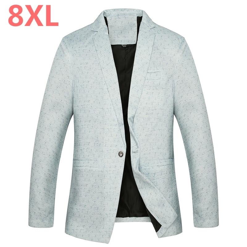 2018 Big 8XL 7XL 5XL 4XL Mens Korean Loose Fit Fashion Cotton Blazer Suit Jacket Plus Size Male Blazers Mens Coat Casual Suits