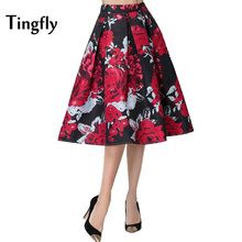 Tingfly 50s Vintage Hebburn Style Woman Retro Flower Bouquet Floral Print High Waist Midi Skirts Knee-Length Feminina Lady Skirt