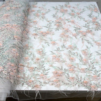 3d lace flowers applique beaded french lace pink lace fabric factory direct fabric for wedding dresses 5yard/lot F954 1