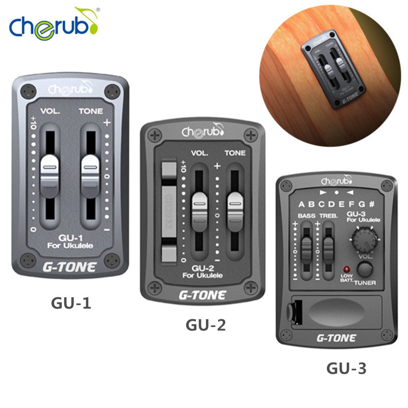 G-tone 2-band Ukelele EQ Ukulele Equalizer Pickup Hawaiian Guitar EQ with Tuner Pickup Piezo Ceramic Pick-up Preamp System