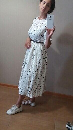 Women Summer Polka Dot Slim Waist Bandage Long Dress Female Vintage Vestidos With Belt Sundress Robe Longue Femme Zomer Jurk photo review