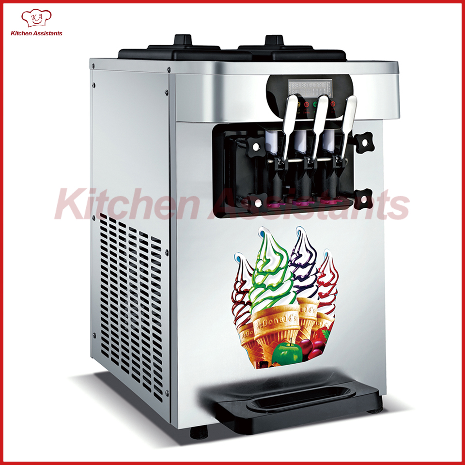 XQ18X electric counter top commerical ice cream making machine soft ice cream maker 220v 60hz two and one twisted 20l ice cream machine desk top ice cream making tool factory sale