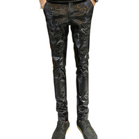MORUANCLE Mens Faux Leather Pants PU Motorcycle Ridding Suede Trousers Slim Fit Biker Leather Joggers For