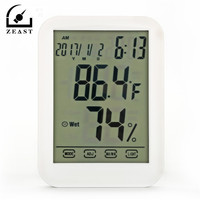 DC 08 Thermometer Humidity Digital Hygrometer Temperature Humidity Gauge With LCD Touch Screen Alarm Clcok Weather