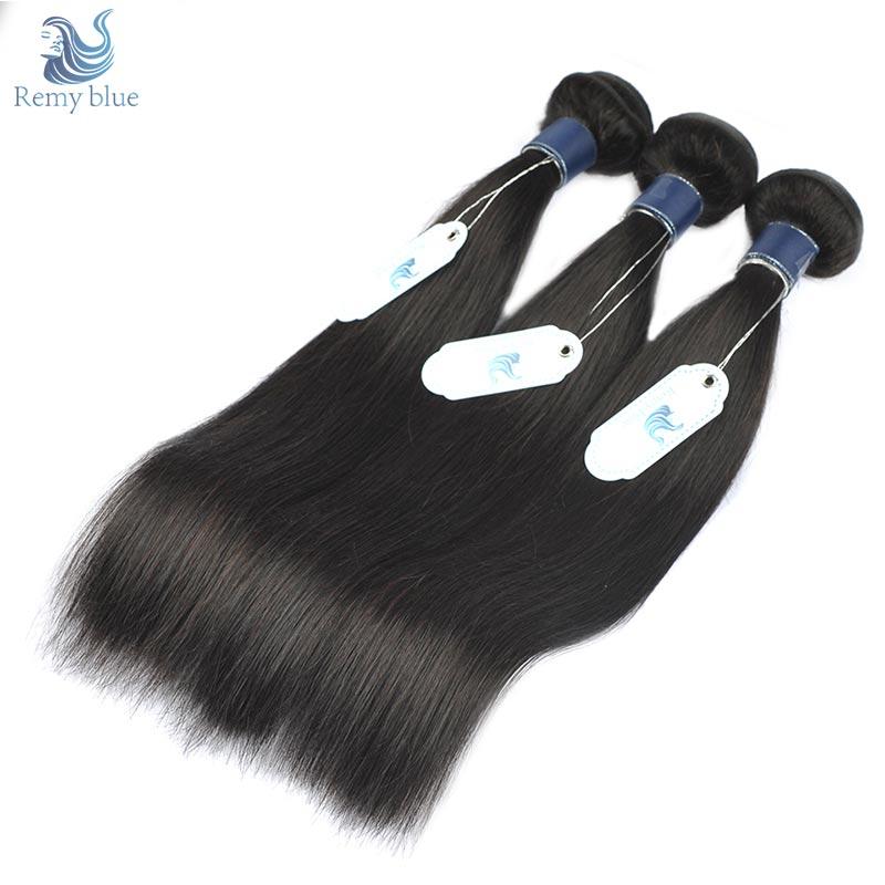 Remy Blue Peruvian Hair Bundles Straight 100% Human Hair Weave 3 Bundles Deals Natural Color Remy Hair Extension True To Length