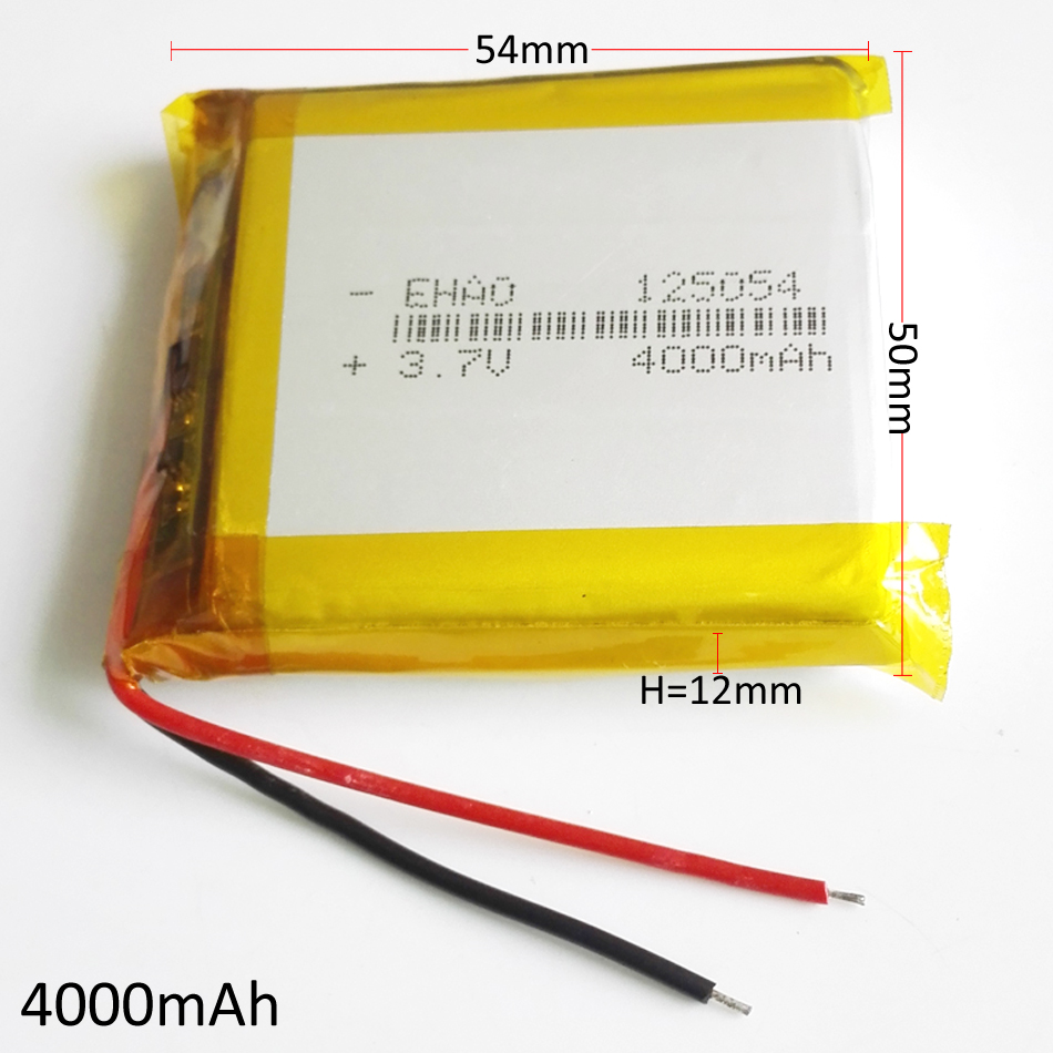 3.7V 4000mAh <font><b>125054</b></font> Lithium Polymer LiPo Rechargeable battery For GPS PSP Power bank Tablet PC speaker Laptop MID DVD PAD image