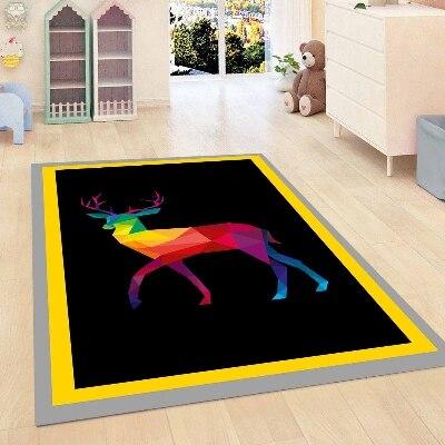 Else Yellow Border Black Floor Deer Animal Decorative 3d Print Non Slip Microfiber Children Kids Room Decorative Area Rug Mat