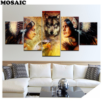 5 pcs Diamond Painting Cross Stitch Full Square Drill Diamond Embroidery Diamond Mosaic Indians and Wolf pictures of Rhinestones