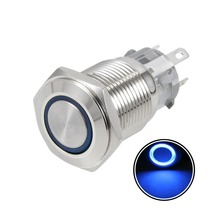 цена на UXCELL Latching Push Button Switch 16mm Mounting Dia 5A 1NO 1NC 12V Blue LED Light For Power Button Led Switch Accessories