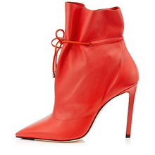 Plus Size 46 Women Ankle Boots Red Thin High Heels Booties Women Lace Up Shoes Pointed Toe Mujer Boot Women Leather Short Boots plus size 35 46 high quality ankle women boots sping autumn flats lace up women work