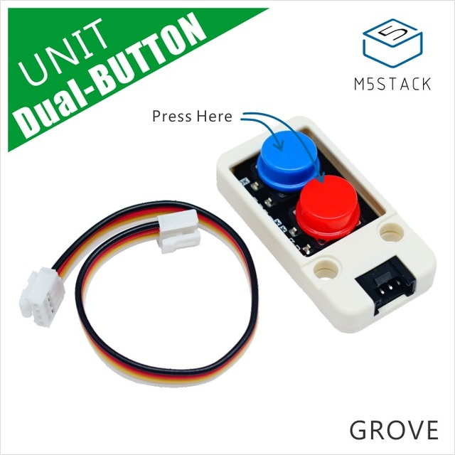 M5Stack Oficial New Mini Dual Unidade Button Mini com GROVE Conector do Cabo Porta Compatível com FOGO/M5GO ESP32 Micropython kit