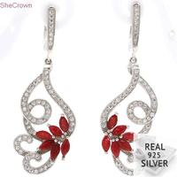 7.85g Real 925 Solid Sterling Silver Elegant Butterfly Real Red Ruby White CZ Ladies Gift Earrings 49x16mm