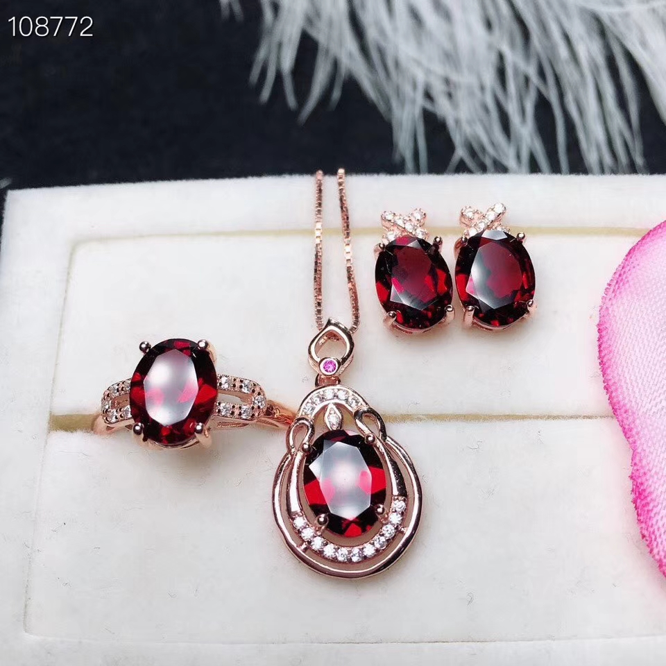 KJJEAXCMY boutique jewels 925 sterling silver inlaid Natural Garnet Ring Pendant Necklace ear nail set support detectionKJJEAXCMY boutique jewels 925 sterling silver inlaid Natural Garnet Ring Pendant Necklace ear nail set support detection