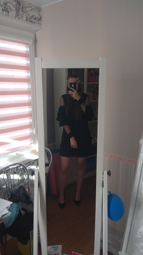 Ruffle Long Sleeve Black A Line Work Dresses Ladies Contrast Mesh Tiered Layer Straight Women Elegant Mini Dress photo review