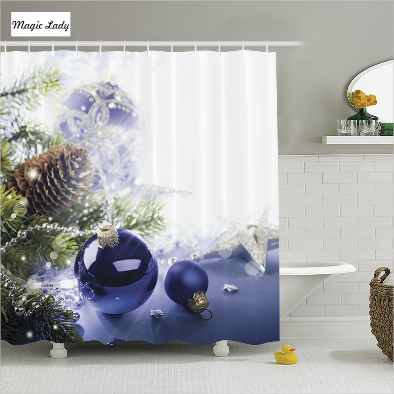 Shower curtain blue bathroom accessories christmas tree for 180 degrees christmas decoration