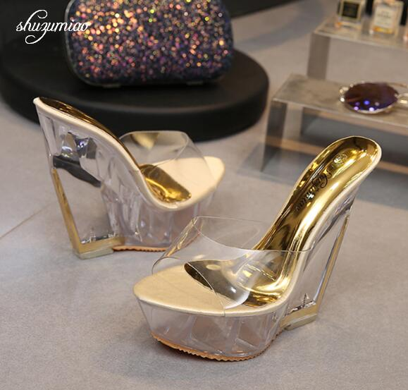High Quality Women Shoes Slippers Summer Transparent Crystal Model Catwalk Wedding Shoes High-heeled 14cm Wedges shoes free shipping 14cm crystal shoes black fine strips big size sexy high heeled sandals high heeled shoes model shoes 5 10 5