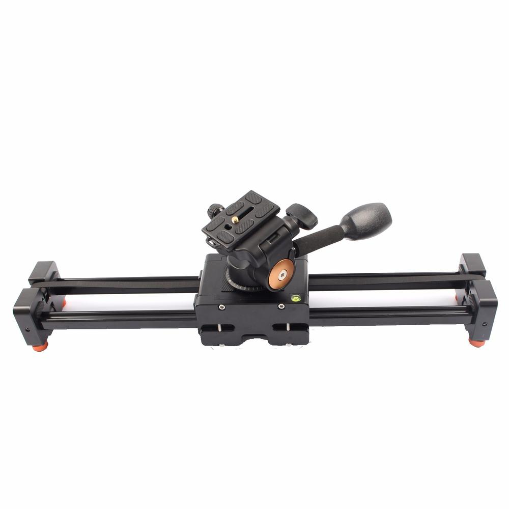 Commlite CS V500 Retractable Video Slider 50cm Dolly Track Stabilizer 1m Actual Sliding Distance Load Up 8kg+3 Way Fluid Head - 2