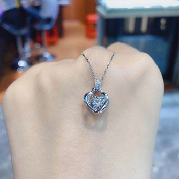 ANI 18K Solid White Gold Pendant Necklace SI Real Natural Diamond Fine Jewelry Women Engagement Necklace Heart Birthday Gift 5