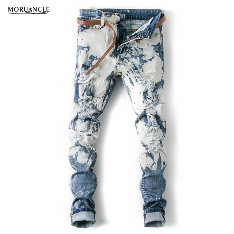 MORUANCLE 2017 New Fashion Mens Ripped Jeans Pants Personality Slim Fit Distressed Stretchy Denim Trousers For Male E0514