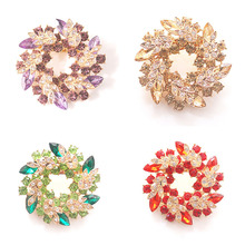 1 Pcs Women Brooches for Scarf Bling Bling Crystal Rhinestone Chinese Redbud Flower Brooch Pins Jewelry