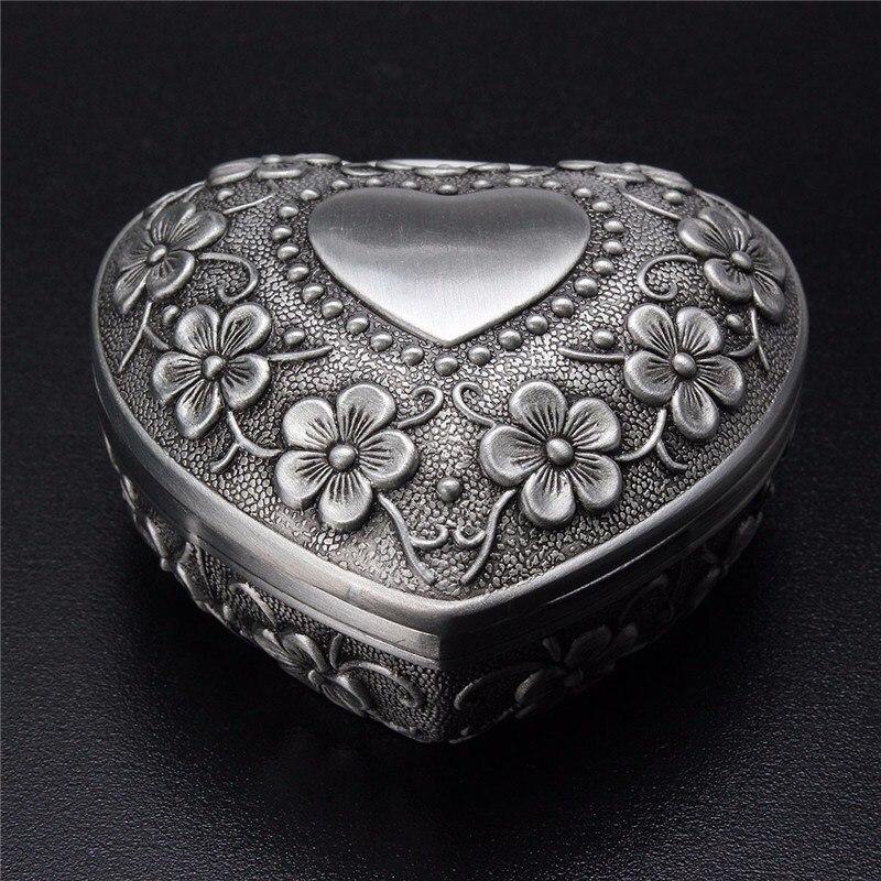 Exquisite Alloy Vintage Heart Shape Jewellery Box Ring Earrings Necklace Trinket Storage Casket Case Silver Ornament Holder