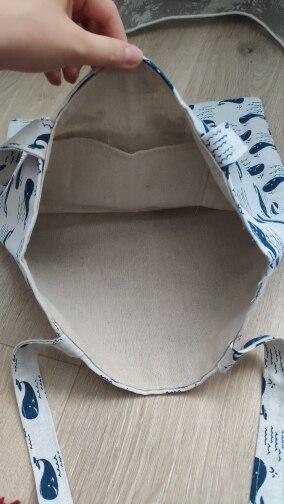 YILE Gloednieuw Katoenlinnen Eco Herbruikbare schoudertas Shopping Tote-print Leuke walvissen L244 photo review