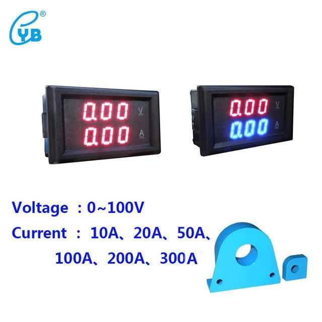 YB28VA DC 0-100V LED Dual Voltmeter Ammeter Digital Display Voltage Current Meters Tester Current Transformer CT Volt Amp