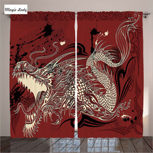 Living Room Curtains Red Bedroom Angry Dragon Doodle Grunge Japanese Mythology Eastern Decor Yellow 2 Panels