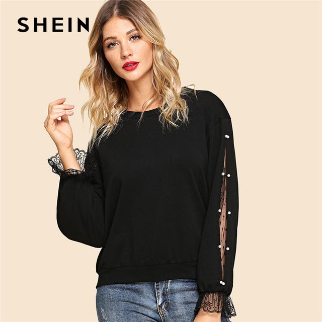 389fe1e8c1 SHEIN Black Elegant Highstreet Pearls Beaded Lace Contrast Solid Preppy Sweatshirt  Autumn Workwear Women Pullovers Sweatshirts
