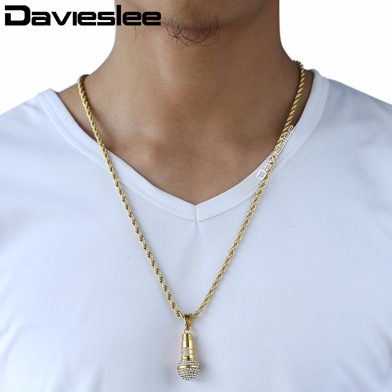 Davieslee Mens Miami Chain Mircophone Pendant Necklace Gold Color Hiphop Jewelry Iced Out Paved Rhinestones LGPM10