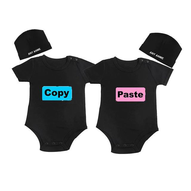 f67624c09 US $12.8 36% OFF|Culbutomind Copy Paste Print Newborn Twins Baby Clothes  Outfit Romper Twins Boys Girls Clothing Matching Set with Custom Beanie -in  ...