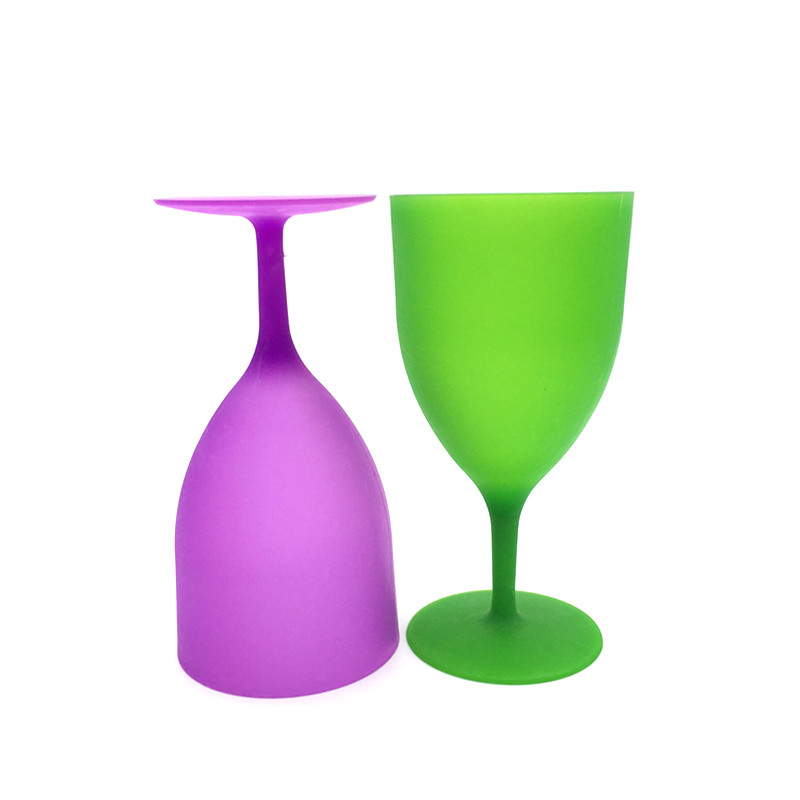 6Pcs Set High Quality Plastic Wine Glass Goblet Cocktail Champagne Cups Colorful Frosted Glass For Party Picnic Bar Drinks Cups in Other Glass from Home Garden