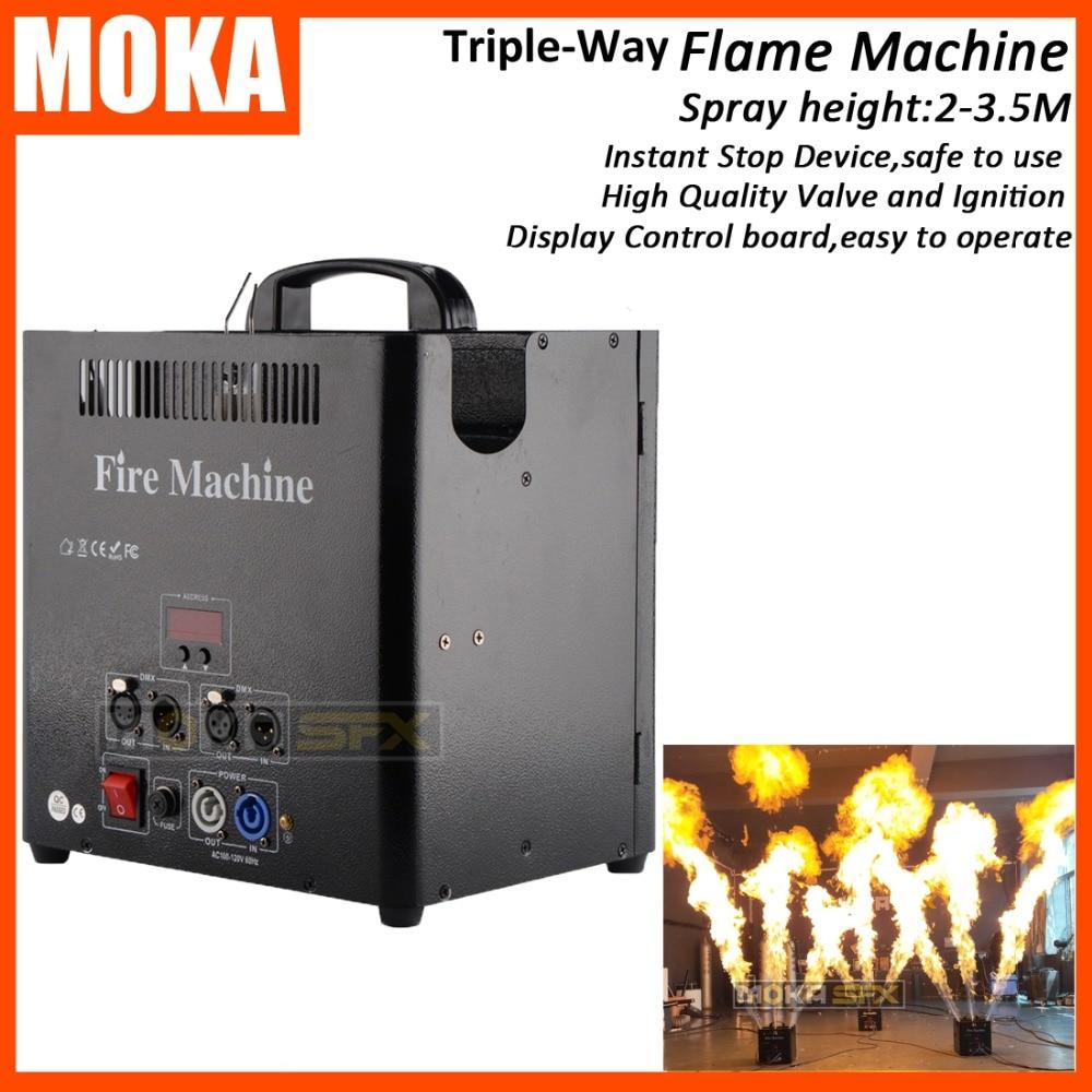1 pcs/lot 3 Tête DMX512 Feu Machine 5 Canaux Flamme Projecteur de flamme étape machine LCD affichage