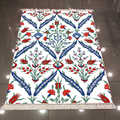 Else สีฟ้าสีแดง Ottoman ชาติพันธุ์ดอกทิวลิปดอกไม้ 3d ไมโครไฟเบอร์ Anti Slip กลับล้างทำความสะอาดได้ตกแต่ง ...