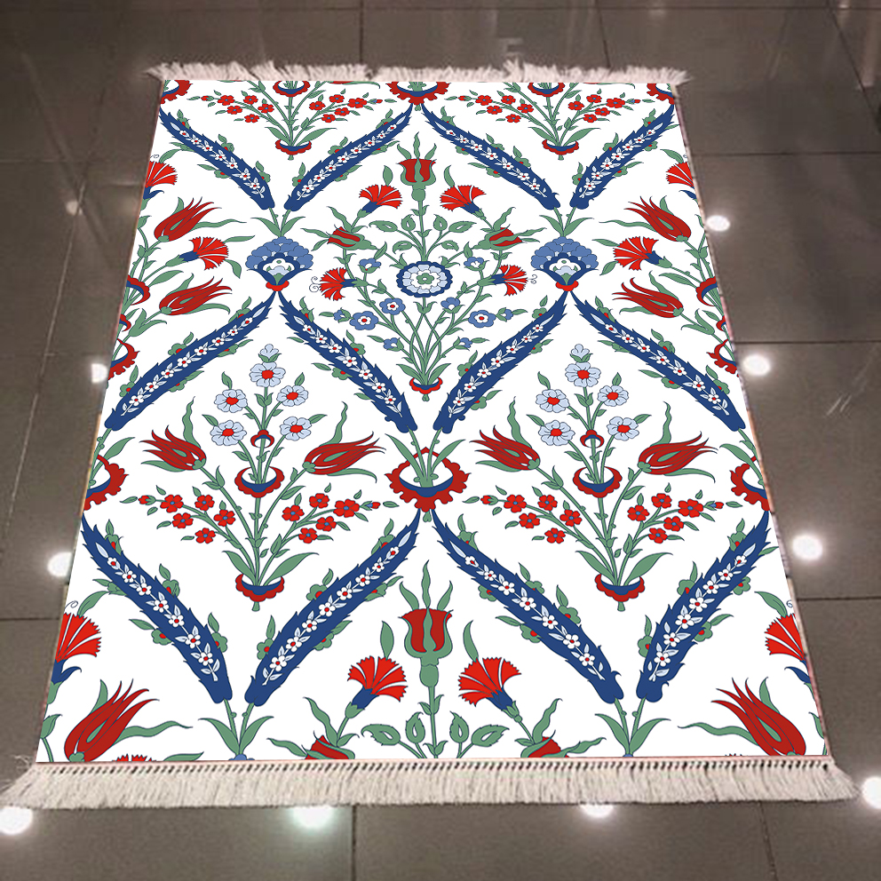 Else Blue Red Ottoman Ethnic Tulips Flowers Floral 3d Microfiber Anti Slip Back Washable Decorative Kilim Area Rug Carpet
