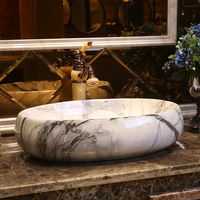 American style art counter top washbasin ceramic bathroom sink toilet room oval marble porcelain wash basin