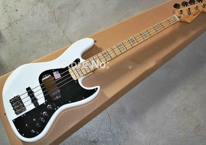 Fábrica al por mayor de calidad superior GYJB-5010 color blanco estilo de firma con placa negra 4 cuerdas Jazz bajo guitarra, envío gratis