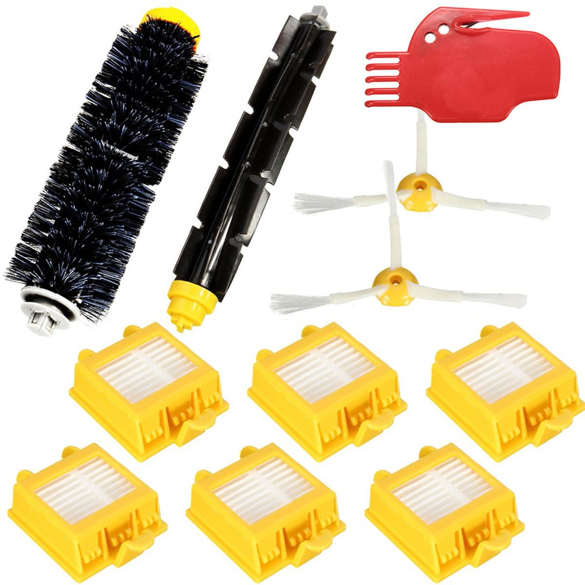 2018 New 11Pcs Hepa Filters And Flexible Beater Bristle Brush Kit 2 Side Brush For i Robot R oomba 700 Series 760 770 780 790 hepa filters bristle brush flexible beater brush 3 armed side brush pack set for irobot roomba 700 series 760 770 780 790 new
