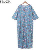 ZANZEA Women O Neck 3 4 Sleeve Bird Print Loose Casual Cotton Linen Maxi Long Dress