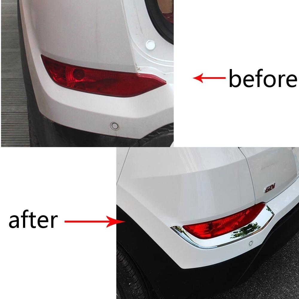 Заднего Туман свет лампы Планки Обложка наклейки для hyundai tucson аксессуары ABS Chrome Тюнинг автомобилей