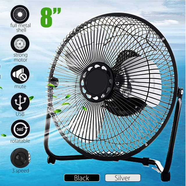 Warmtoo Portable 8u0027u0027 Metal Electric 360 Degree Rotatable USB Fan Cooler  Rechargeable Battery Desk