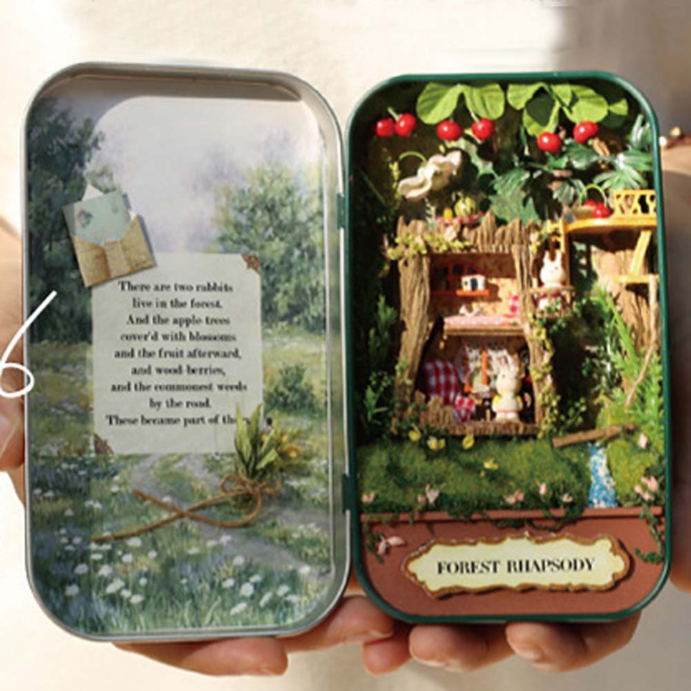 DIY Girl's Miniature Dollhouse Iron Model Kits Box Country  Toy House Garden Box Birthday Gifts Christmas BOX THEATER cuteroom diy model dollhouse miniature voice activated led light box theatre gift for birthday valen
