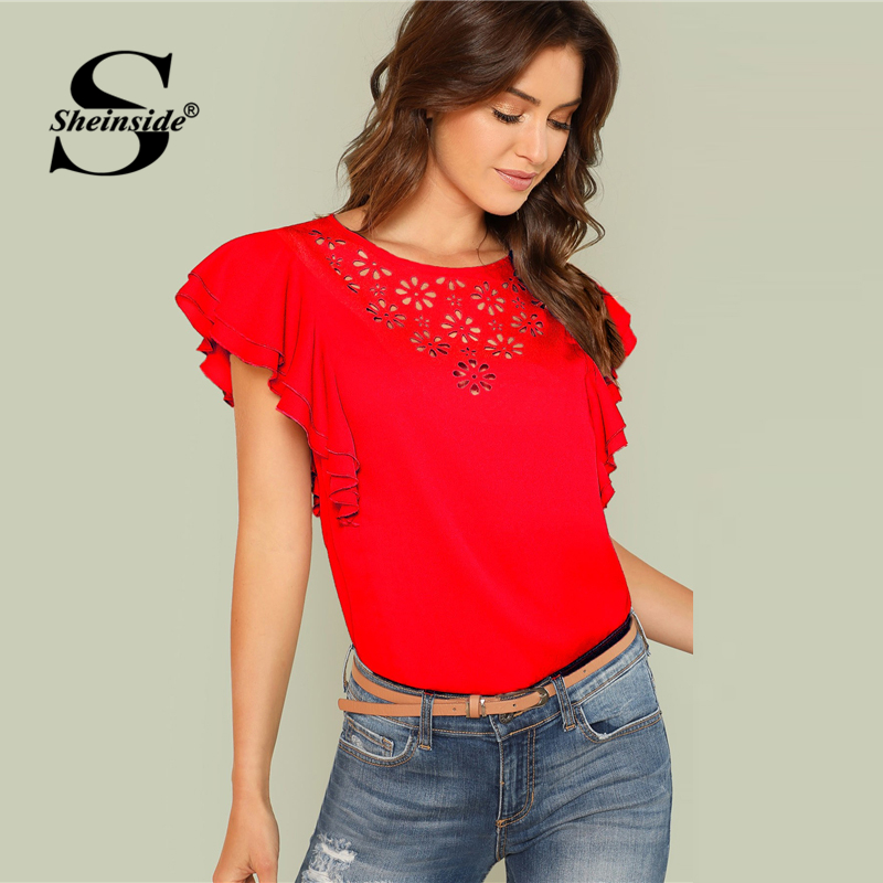 Sheinside Red Hollow Out Butterfly Sleeve Plain Office Ladie
