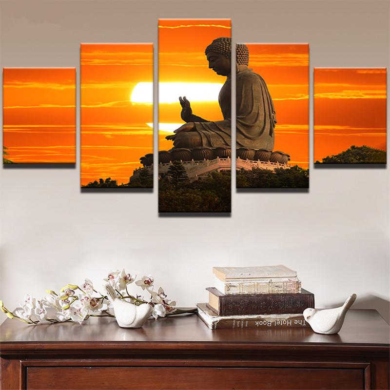 Sunset Landscape Statue Of Buddha Poster