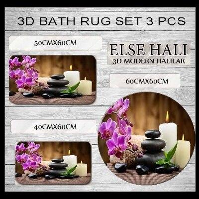 Else Purple Flower Spa Stones Candle 3d Print Non Slip Microfiber 3 Piece Bath Mat set for Bathroom 60x60cm 50x60cm 40x60cm
