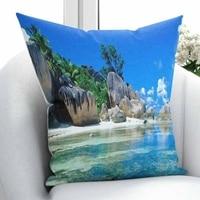 Innego błękitne niebo morze po stronie tropikalna plaża zielone drzewa góry 3D drukuj rzuć poszewka na poduszkę poduszka kwadratowa ukryty zamek błyskawiczny 45x45 cm w Poszewka na poduszkę od Dom i ogród na